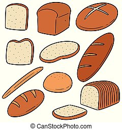 vettore, set, bread