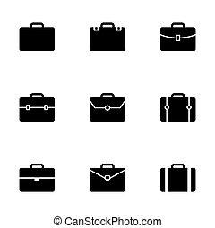vettore, set, cartella, icona