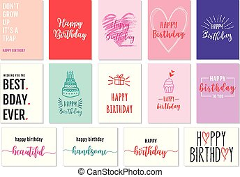 vettore, set, cartelle, compleanno