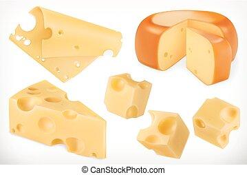 vettore, set, cheese., 3d, icona