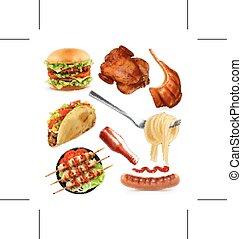 vettore, set, cibo, digiuno, icone