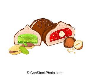 vettore, set, cioccolati, illustration., cioccolato, tre, caramelle