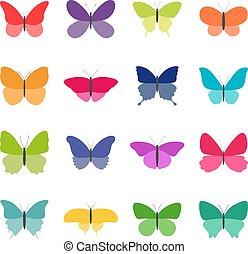 vettore, set, colorare, illustrazione, farfalle, fondo, bianco