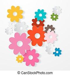 vettore, set, colorito, carta in fogli, fiori