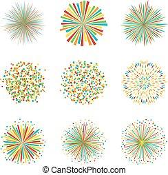 vettore, set, colorito, fireworks, illustrazione, fondo, bianco