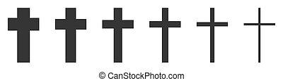 vettore, set, cristiano, croce, icons.
