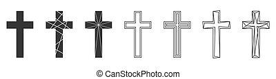 vettore, set, cristiano, icons., cross., astratto
