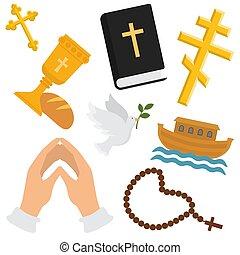 vettore, set, cristiano, santo, colomba, christianity., piegato, illustrazione, segno, simboli, religione, croce, bibbia, vino, mani, preghiera, bread, pattern., religioso, fondale, perline