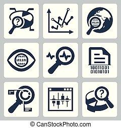 vettore, set, dati, analisi, icona