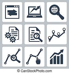 vettore, set, dati, analisi, icone