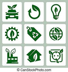 vettore, set, ecologia, icone