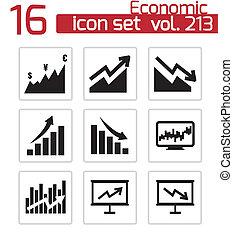 vettore, set, economico, nero, icone