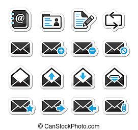 vettore, set, email, cassetta postale, icone