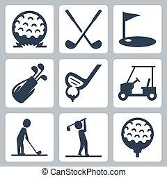 vettore, set, golf, icone