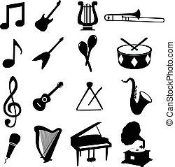 vettore, set, icone, musicale, illustrazione