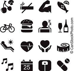 vettore, set, icone, sano, illustrazione, 2