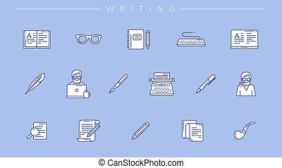 vettore, set, icone, scrittura, concetto, linea, stile