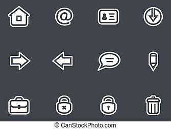 vettore, set, icone