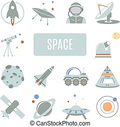 vettore, set, icons., spazio