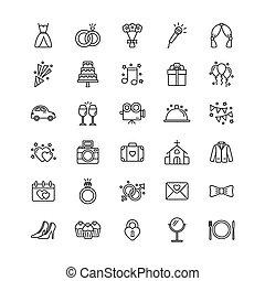 vettore, set, illustrazione, bianco, icone, matrimonio, fondo