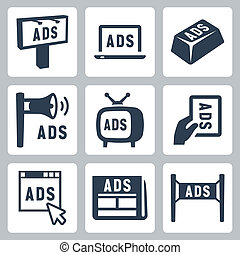 vettore, set, isolato, advertisment, icone