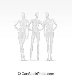 vettore, set, isolato, femmina, indossatrici