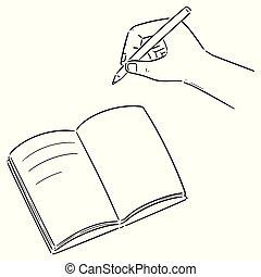 vettore, set, mano, quaderno, scrittura