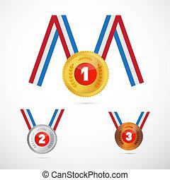 vettore, set, medaglie