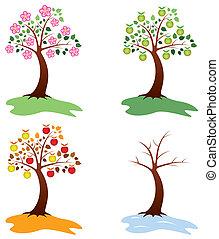 vettore, set, mela, albero
