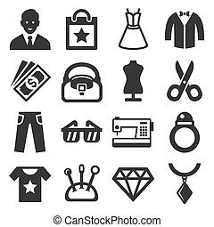 vettore, set., moda, shopping, icone