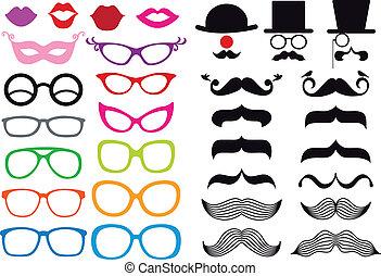 vettore, set, occhiali, baffi