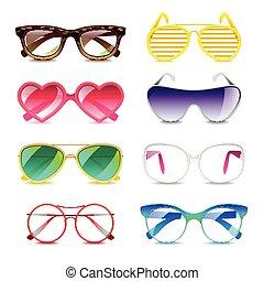 vettore, set, occhiali da sole, icone
