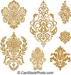 vettore, set, ornamento, oro, damasco