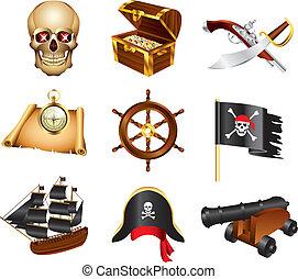 vettore, set, pirati, icone