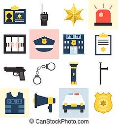 vettore, set, polizia, icone