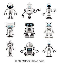 vettore, set, robot, icone