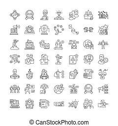 vettore, set, segni, icone, vendite, amministrazione, linea, simboli, illustrazione, lineare
