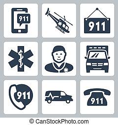 vettore, set, servizio emergenza, icone