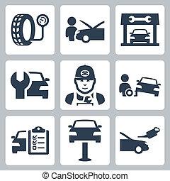 vettore, set, servizio, icone, stazione, veicolo