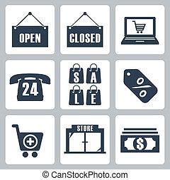 vettore, set, shopping, isolato, icone