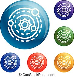 vettore, set, sistema, solare, icone