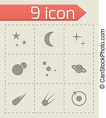 vettore, set, spazio, icona