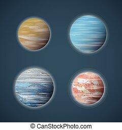 vettore, set, spazio, planetoids, pianeti, o, tipico