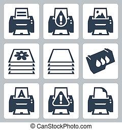 vettore, set, stampa, stampante, icone