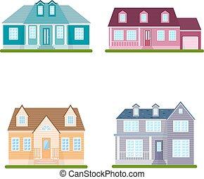vettore, set, suburbano, illustrazione, case, fondo, bianco