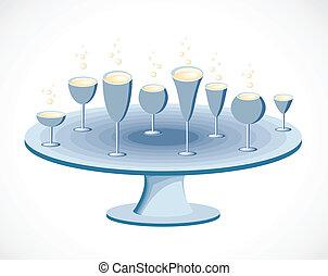 vettore, set, tavola., occhiali