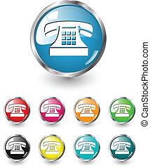 vettore, set, telefono, icona