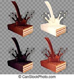 vettore, set, wafer, cioccolato, realistico, schizzo, 3d