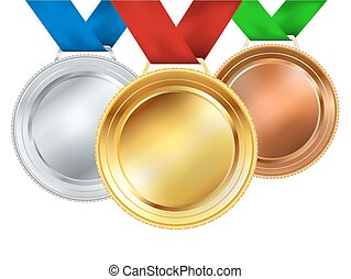 vettore, set, white., illustrazione, medaglie