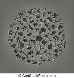 vettore, sfera, ristorante, forma, icone
